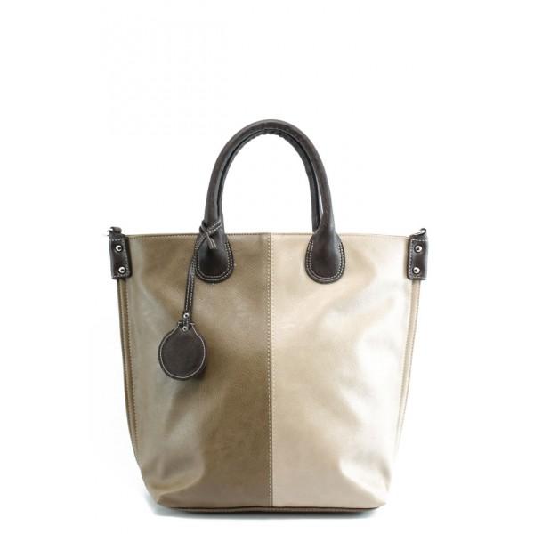 Дамска чанта в съчетание от два цвята СБ 1129 св.кафе-бежово