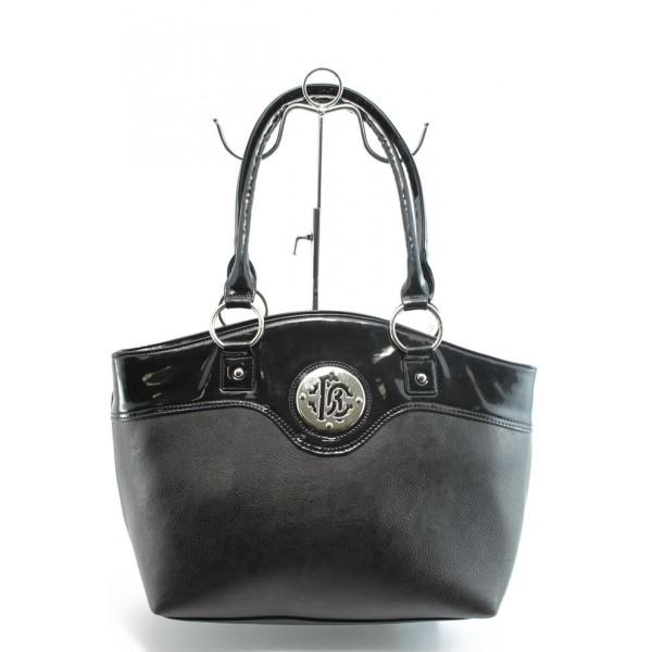 Стилна дамска чанта СБ 1128 черна кожа