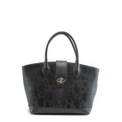 Стилна дамска чанта СБ 1109 черна кожа анаконда