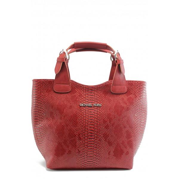 Стилна дамска чанта СБ 1130 червена кожа анаконда