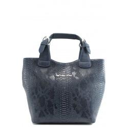 Стилна дамска чанта СБ 1130 синя кожа анаконда