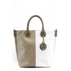 Дамска чанта в съчетание от два цвята СБ 1129 бяло-бежово