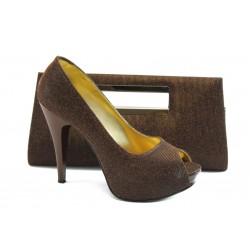 Комплект обувки и чанта МИ 1701-3 бакър