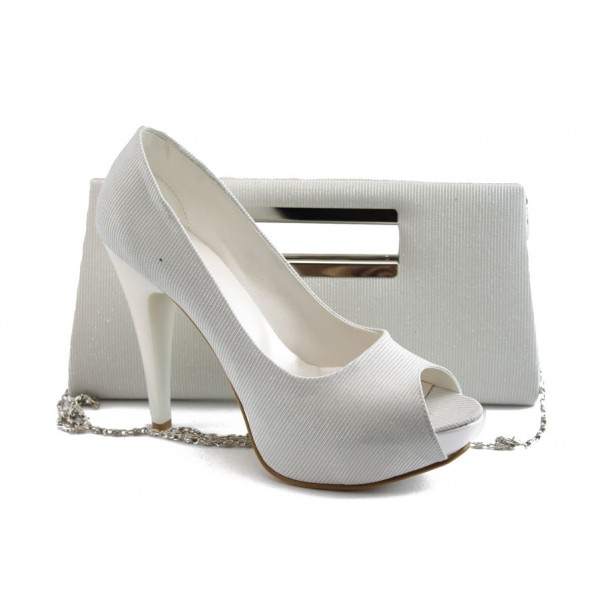 Комплект обувки и чанта МИ 1701-3 бял