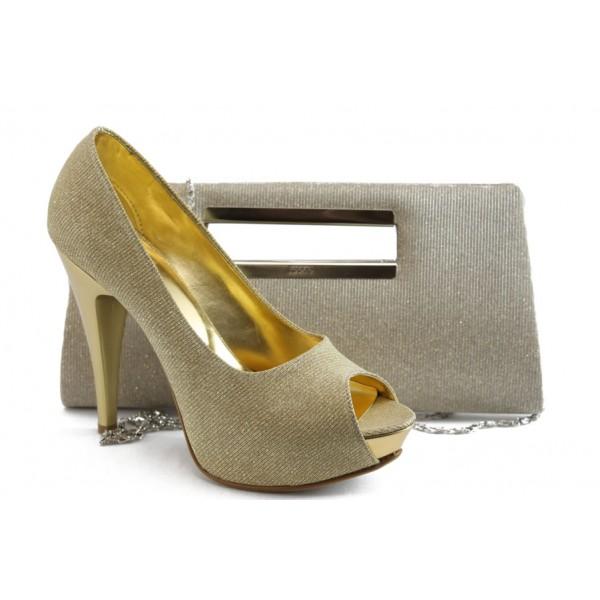 Комплект обувки и чанта МИ 1701-3 златно