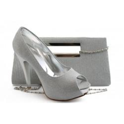 Комплект обувки и чанта МИ 1701-3 сив