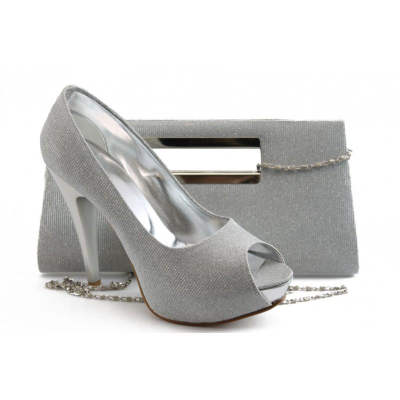 6b003a94f92 Комплект обувки и чанта МИ 1701-3 сив
