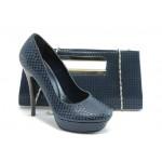Комплект обувки и чанта ДС 3391-5 син