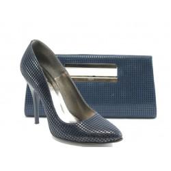 Комплект обувки и чанта ЕО 25002-5 син