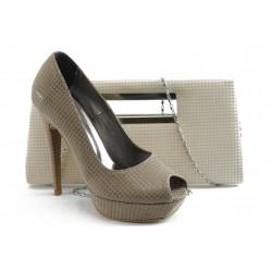 Комплект обувки и чанта ДС 3390-5 бежов