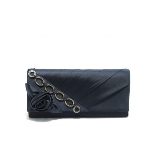 Елегантна сатенена дамска чанта ФР 238 синя