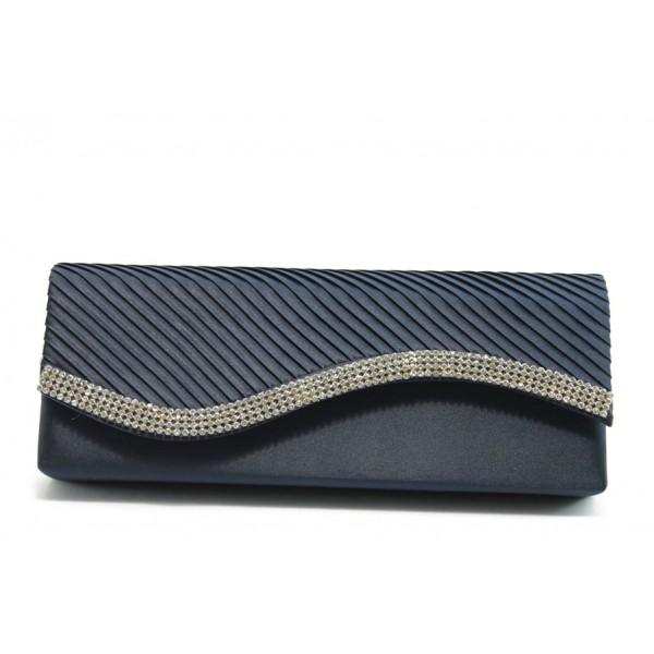 Елегантна сатенена дамска чанта ФР 255 синя