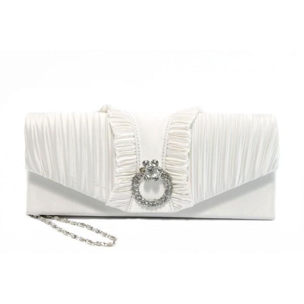 Елегантна сатенена дамска чанта ФР 8851 бяла