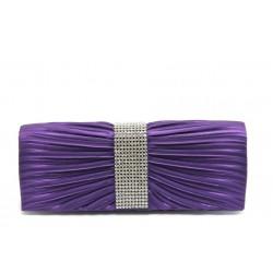 Елегантна сатенена дамска чанта ФР К340 лилава