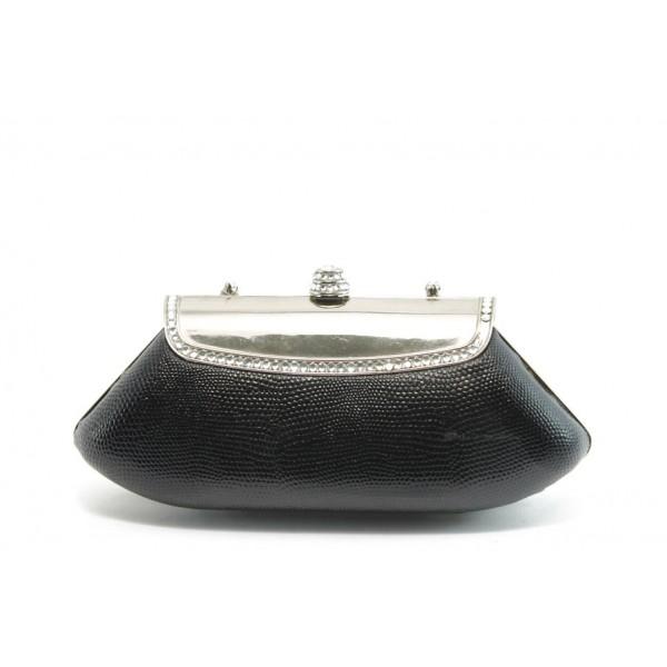 Елегантна малка дамска чанта с метална дръжка ФР 15429 черна