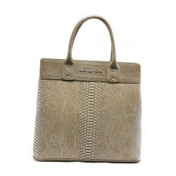 Стилна дамска чанта СБ 1122 св. кафява анаконда