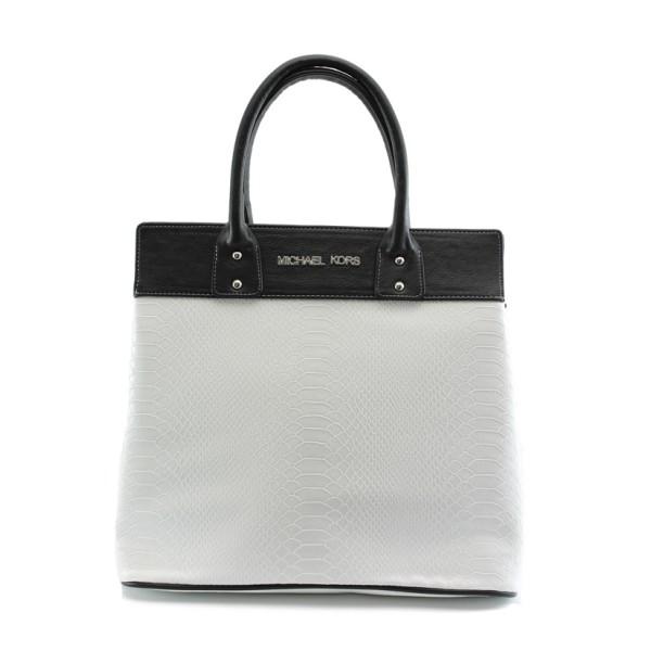 Стилна дамска чанта СБ 1122 бяло-черна анаконда