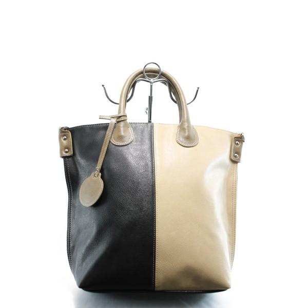 Дамска чанта в съчетание от два цвята СБ 1129 св.кафе-черно