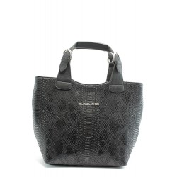 Стилна дамска чанта СБ 1130 черна кожа анаконда