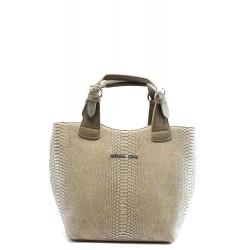 Стилна дамска чанта СБ 1130 св. кафява кожа анаконда