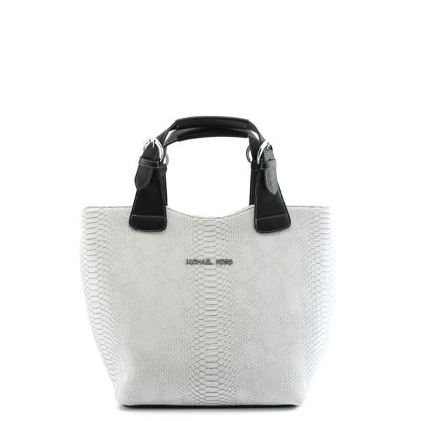 Стилна дамска чанта СБ 1130 бяла кожа анаконда