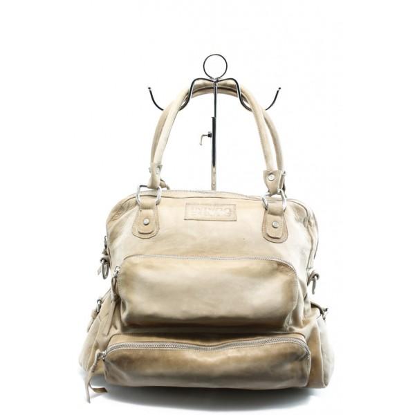 Дамска чанта от естествена кожа ИО 2 бежова с опушен ефект