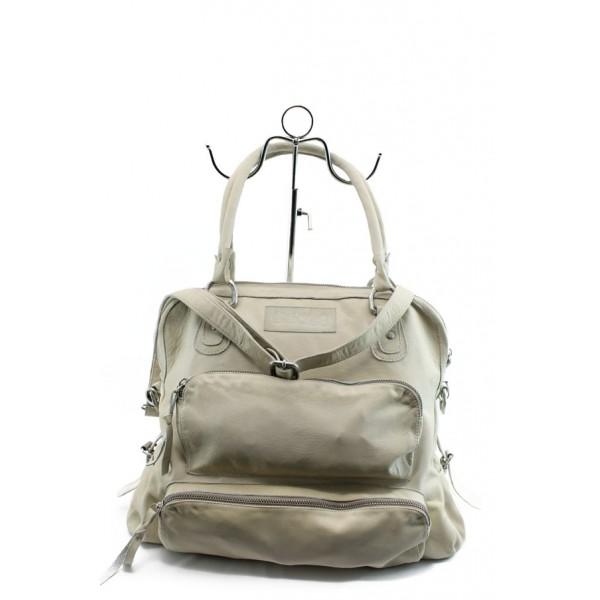 Дамска чанта от естествена кожа ИО 2 бяла с опушен ефект