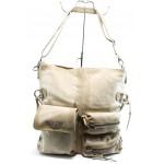 Дамска чанта от естествена кожа ИО 3 бежова с опушен ефект
