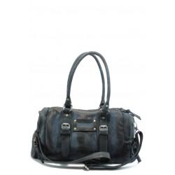 Дамска чанта от естествена кожа ИО 5 черно-синя