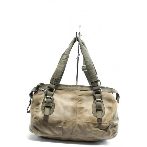 Дамска чанта от естествена кожа ИО 32 бежово-зелена