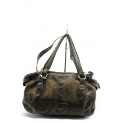 Дамска чанта от естествена кожа ИО 32 кафява