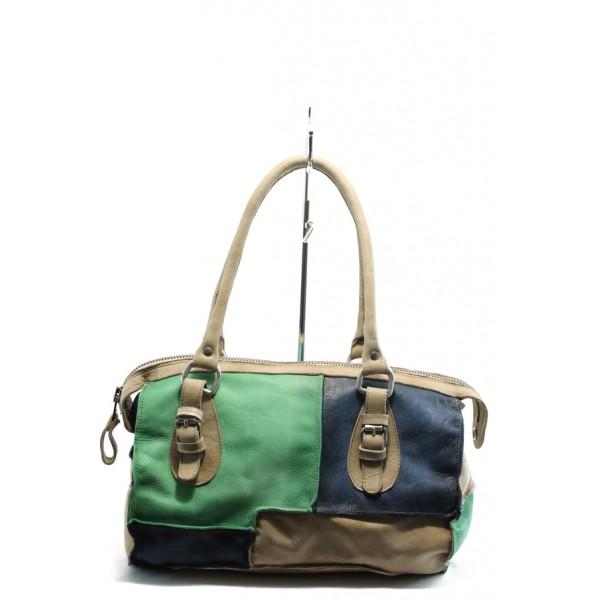 Дамска чанта от естествена кожа ИО 31 зелена