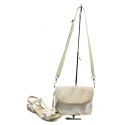 Комплект обувки и чанта  ИО 28 + ИО 1392 бежова пеперуда