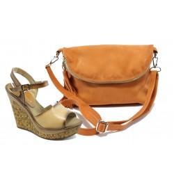 Комплект обувки и чанта МИ 5348 св.кафе + ИО 28 оранж