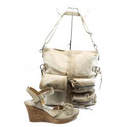 Комплект обувки и чанта ИО 1482 и ИО 3 бежови