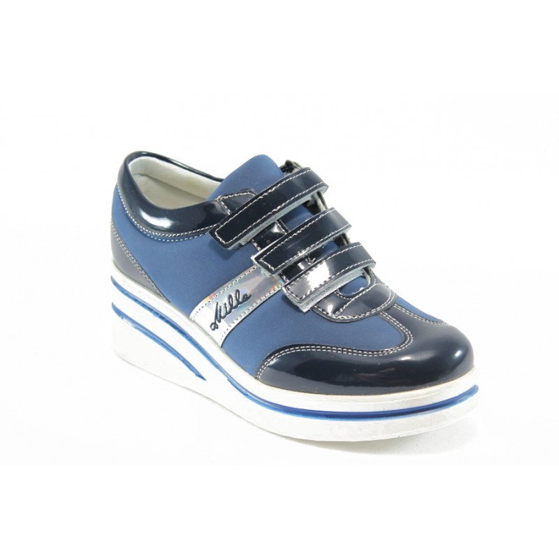 5907ff29f88 Дамски обувки на платформа с лепенки МИ 211 сини