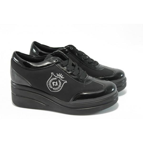 Дамски обувки на платформа МИ 206 черни