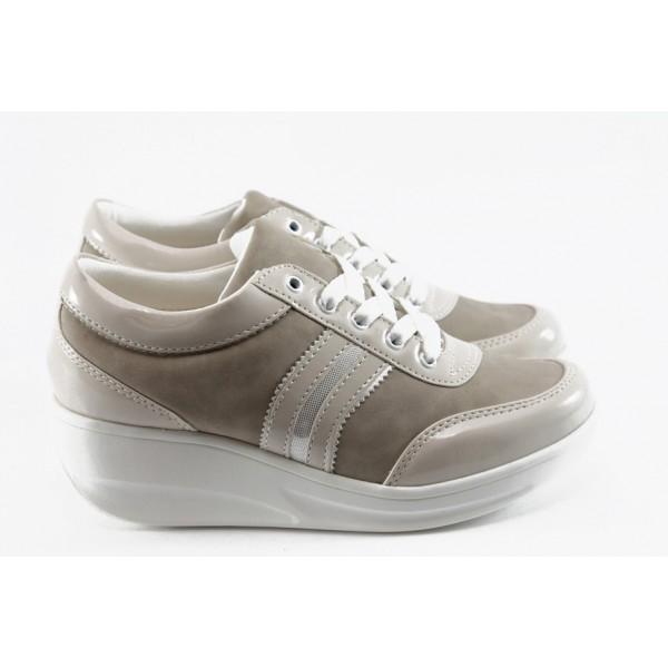 Дамски обувки на платформа МИ 215 бежово