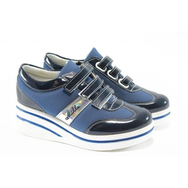 Дамски обувки на платформа с лепенки МИ 211 сини