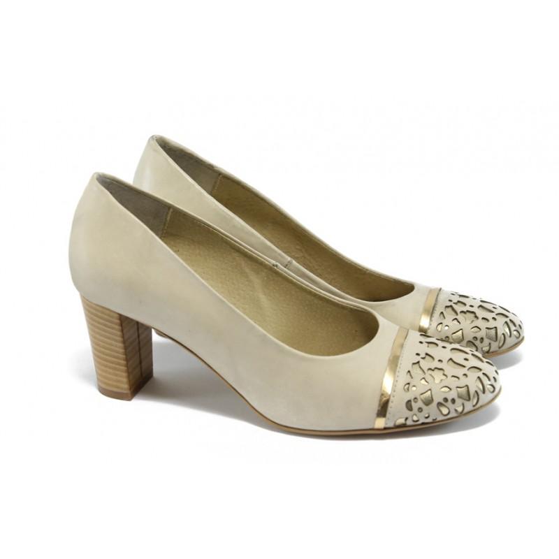 3e2d606b381 Елегантни дамски обувки на среден ток ГО 0397-2962 бежова кожа