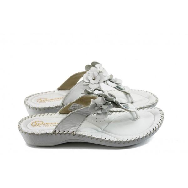 Дамски ортопедични чехли на платформа ГР 4050 бели