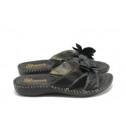 Дамски анатомични чехли естествена кожа ГР 4065 черни