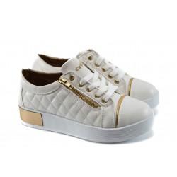 Дамски спортни обувки на платформа МИ 209 бели