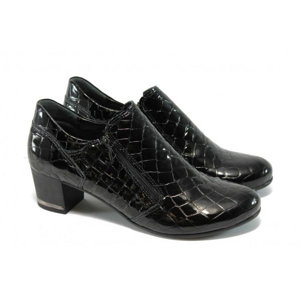Дамски обувки на ток с цип МИ 300-277 черни