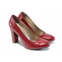 Дамски обувки на висок ток МИ 78 червена змия