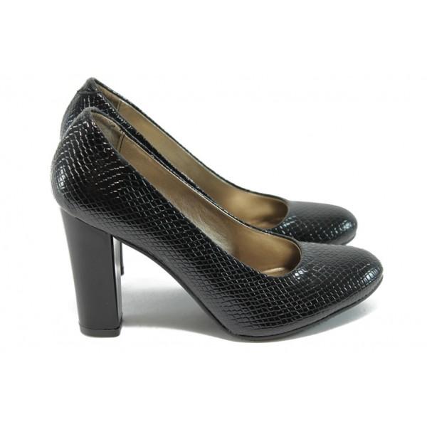 Дамски обувки на висок ток МИ 78 черна змия