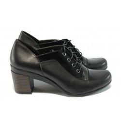 Дамски обувки от естествена кожа на среден ток МИ 1002 черни
