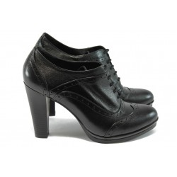 Дамски обувки на висок ток от естествена кожа МИ 4025 черни