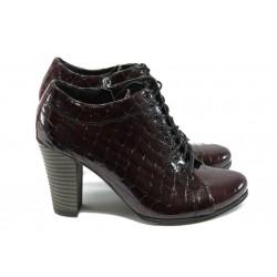 Дамски обувки на висок ток от естествена кожа МИ 800-3591 бордо