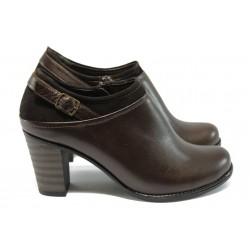 Елегантни дамски обувки на висок ток от естествена кожа МИ 6064 кафе
